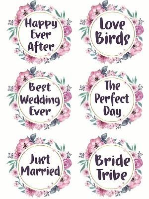 Pack of 6 Flower Wreath Wedding Word Props Multi Pack