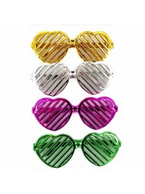Pack Of 4 Random Colour Heart Shutter Sunglasses