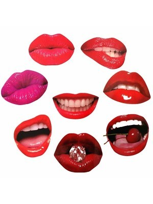 Set Of 8 Card Luscious Red And Pink Lips Props On Sticks