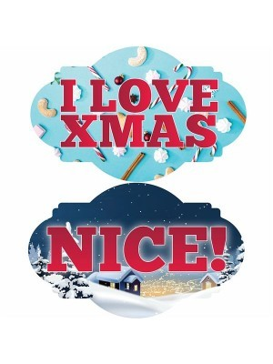 I Love Xmas & 'Nice', Double-Sided Xmas Photo Booth Word Board Signs