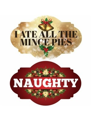 I Ate All The Mince Pies & 'Naughty', Double-Sided Xmas Photo Booth Word Board Signs