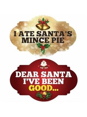 I Ate Santa's Mince Pie & Dear Santa I've Been Good, Double-Sided Xmas Photo Booth Word Board Signs