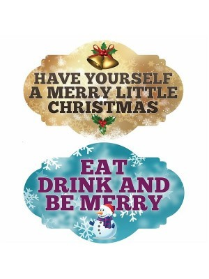 Have Yourself A Merry Little Xmas & Eat Drink And Be Merry, Double-Sided Xmas Photo Booth Word Board Signs