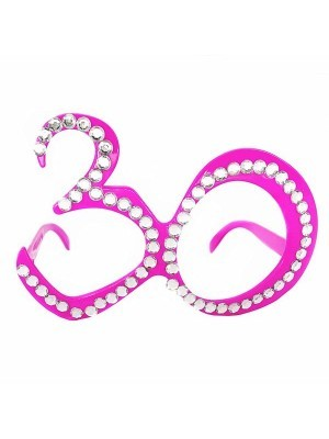 Pink '30' Birthday Shaped Diamante Sunglasses