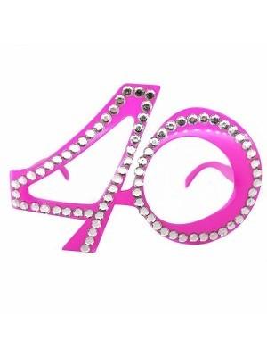 Pink '40' Birthday Shaped Diamante Sunglasses