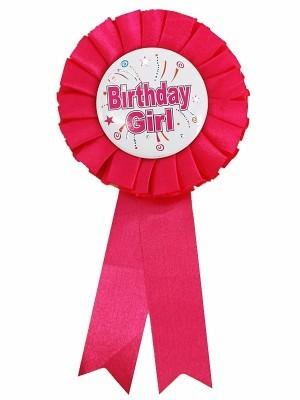 Pink 'Birthday Girl' Rosette Badge