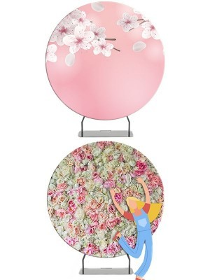 Circular 7ft White Cherry Blossom and Pretty Coloured Flowers Backdrop & Tension Frame