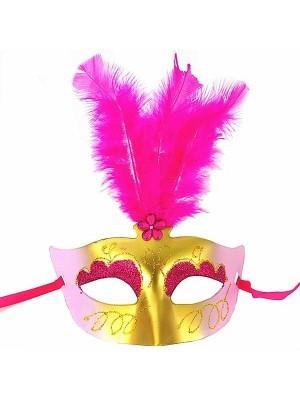 Feathered Masquerade Mask Pink