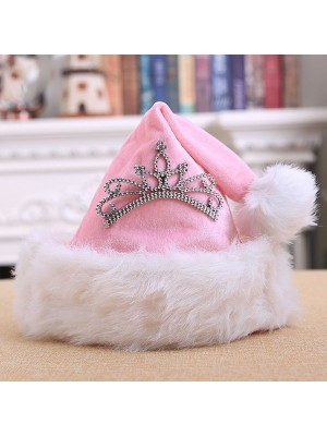 Pink Princess Crown Santa Hat