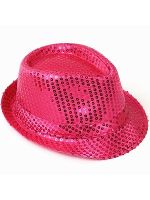 Super Cool Pink Sequin Gangster Hat
