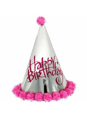 Pink & Silver Holographic 'Happy Birthday' Paper Hat