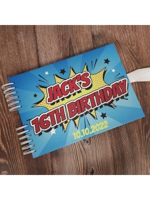 CUSTOM Blue Pop Art Comic Guestbook With Different Page Style Options