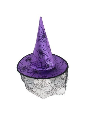 Purple Witches Hat With Face Web Netting