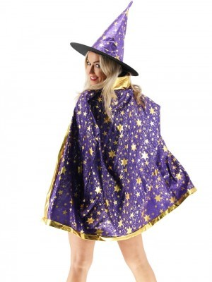 Wizard Witches Hat & Cloak Set In Purple
