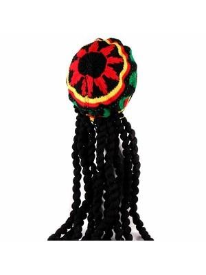 Rastafarian Knitted Braid Hat With Dreadlocks
