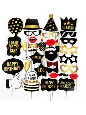 Ready Made Black & Gold Birthday Props On Sticks