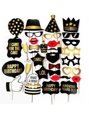 Ready Made Black & Gold Birthday Props On Sticks
