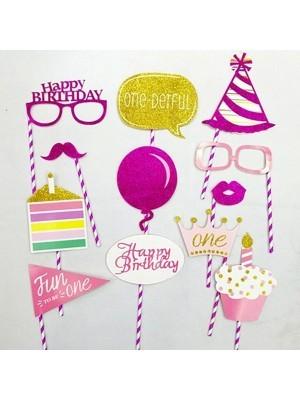 Ready Made Girl 1st Birthday Props On Sticks