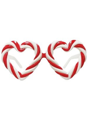 Red and White Candy Cane Heart Sweet Frame Glasses
