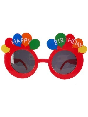 Red Happy Birthday Rainbow Balloon Birthday Glasses
