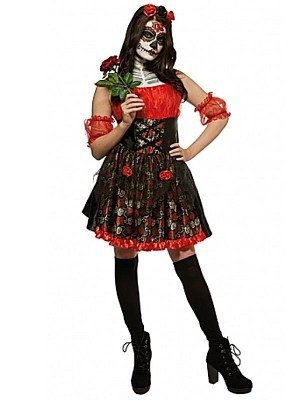 Red Rose Day of the Dead Women's Halloween Fancy Dress Costume