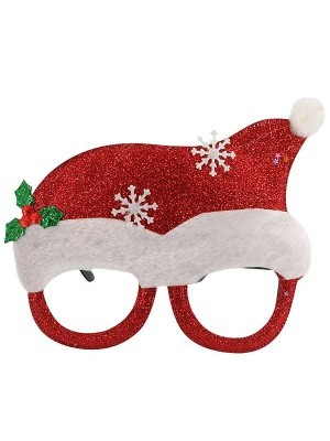 Red Santa Hat With Sunglasses With Snowflakes