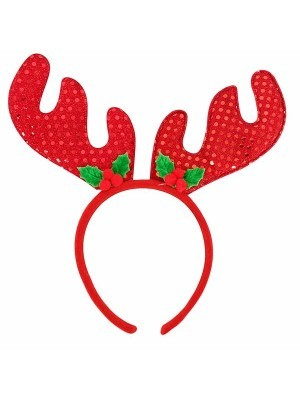 Red Sequin Deer Antlers Christmas Headband