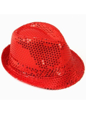 Super Cool Red Sequin Gangster Hat