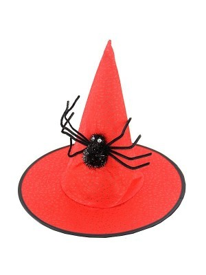 Red Witches Pointed Hat with Spooky Spider Halloween Fancy Dress Accessory