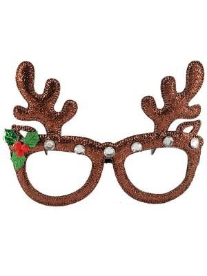 Reindeer Antlers Glitter Glasses