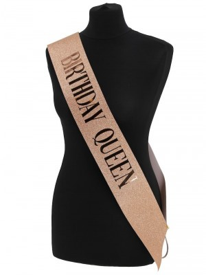 Luxury Rose Gold Glitter With Rose Gold Foil 'Birthday Queen' Sash