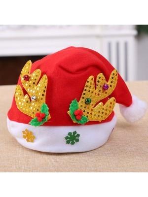 Santa Hat with Gold Reindeer Antlers