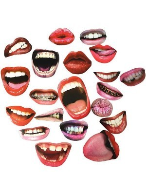 Set Of 20 Card Scary & Sexy Fun Lips Props On Sticks