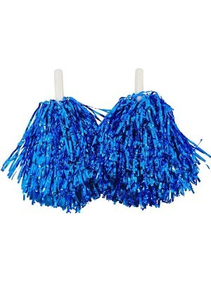 Set Of 2 Glitzy Cheerleader Pom Poms In Blue