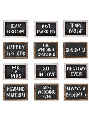 Set of 6 PVC Double-sided Rustic Wedding Photo Booth Props