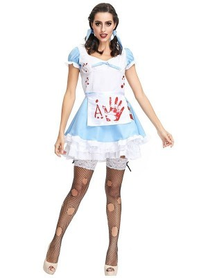 Sexy Bloody Hand Print Alice Maid Halloween Fancy Dress Costume – UK 8-10