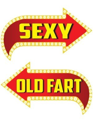 Sexy & Old Fart, Double-Sided PVC Vegas Arrow Photo Booth Word Board Signs
