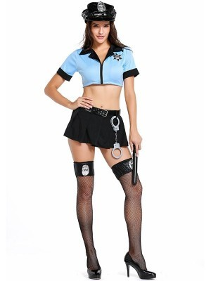 Sexy Policewoman Fancy Dress Costume Size UK 8