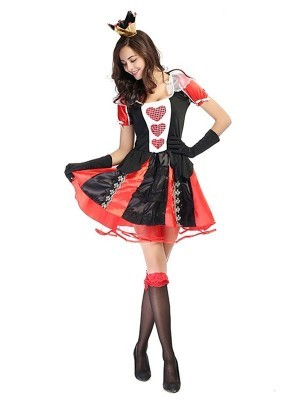 Short Royal Red Queen Fancy Dress Costume