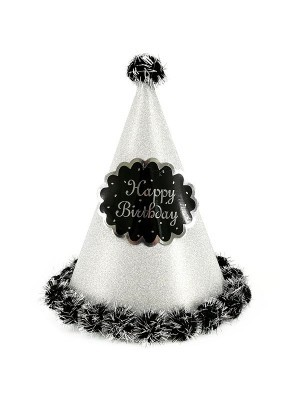 Silver Glitter 'Happy Birthday' Paper Hat