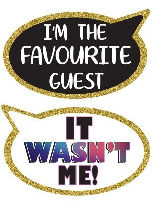 I'm The Favourite Guest & It Wasn't Me, Double-Sided PVC Speech Bubble Photo Booth Word Board Signs