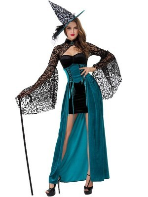 Stunning Blue Lace Witch Fancy Dress Costume