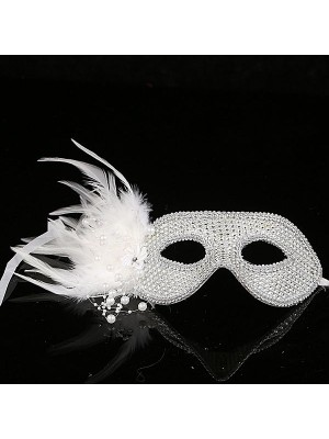 Stunning Feathered Diamante Mask In Silver