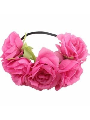 Stunning Rose Pink Garland Flower Headband