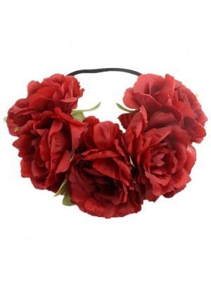 Stunning Wine Red Garland Flower Headband