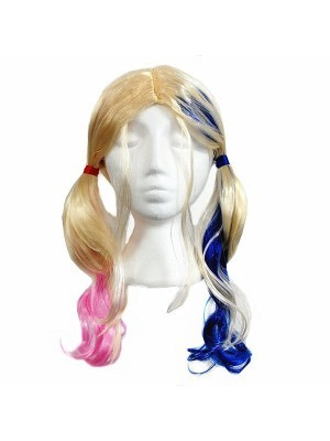 Scary Pink & Blue Cheerleader Wig