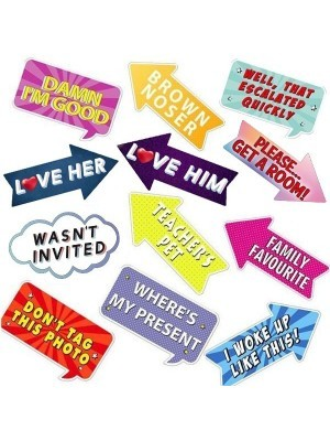 The Fun Pack Of Word Board Photo Booth Props Multi Pack of 12