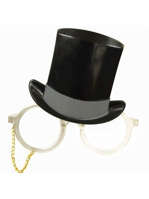 Toffs Top Hat & Silver Monocle Sunglasses