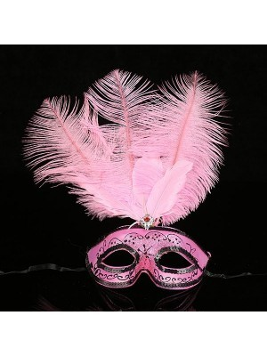 Ultimate Feathered Burlesque Masquerade Mask in Light Pink