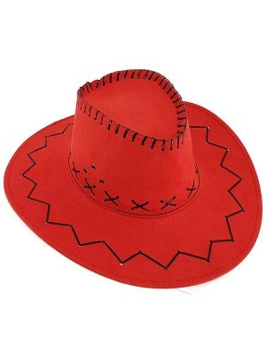 Watermelon Red Suede Effect Cowboy Hat
